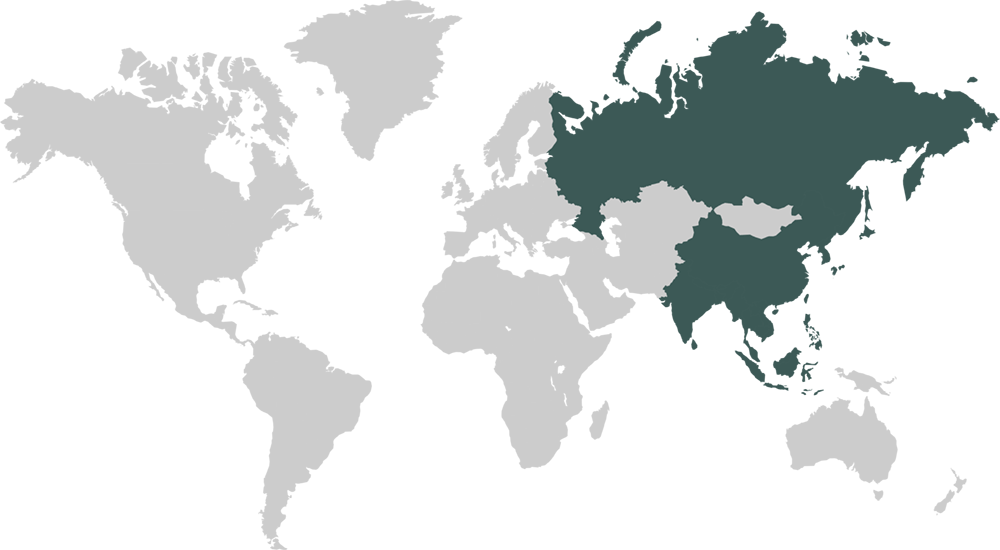World Map Featuring Asia Pacific